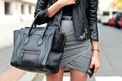 skirt,grey,grey skirt,bag,leather jacket,leather,draped,drapped,jersey,crossed,celine