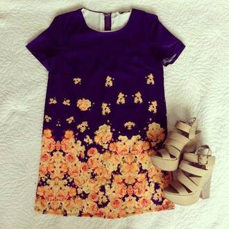 dress tunic dress navy flowers