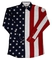 Ladies red white, blue american flag pearl snap western shirt