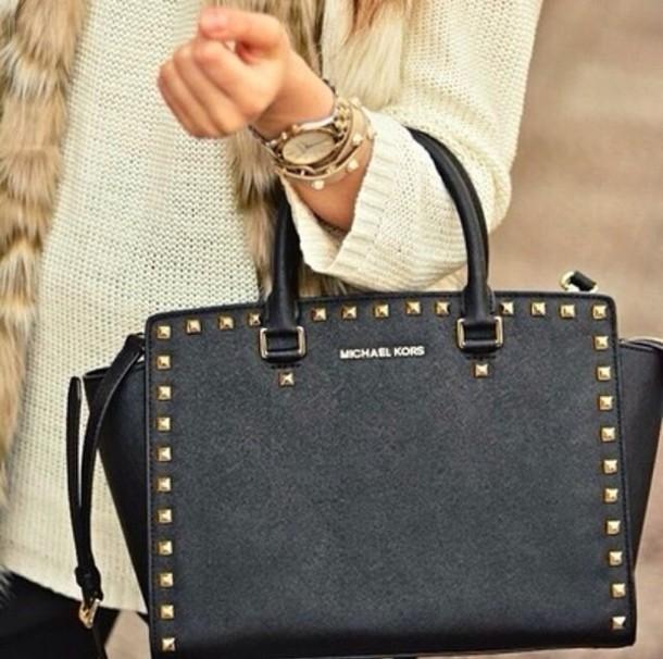 bag michel kors studd black bag designer designer bag michael kors bag michael kors purse purse selma michael kors saffiano