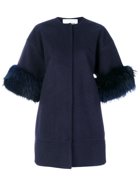 coat fur women dog blue wool