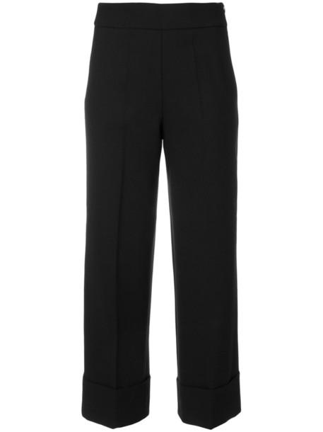 INCOTEX cropped women spandex black wool pants