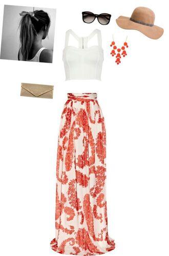 blouse maxi hat sun beach honeymoon summer skirt tan crop tops