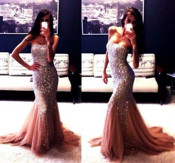 dress pink long prom dresses sparkley mermaid prom dresses strapless dress sexy beautiful maxi sequin dress
