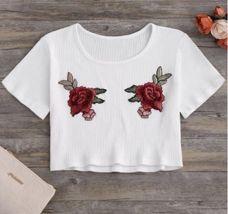 top white white top white crop tops crop tops crop embroidered floral roses