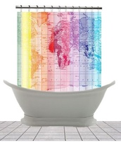 colorful,bright,neon,amazing,home decor,map print,travel,shower curtain,bathroom