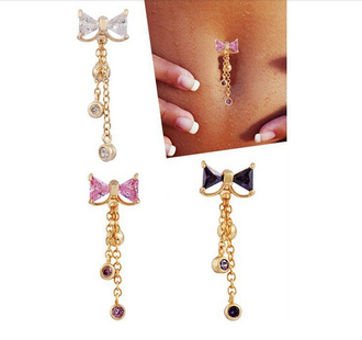 jewels dangle gold pink black white gem bow belly button ring