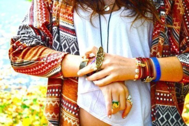 jewels ring bracelets shirt navajo sweater aztec jumper jacket boho ethnic native print blouse