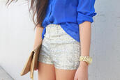 shorts,glitter,glitters,silver,blouse,sequins,high waisted,bag,sparkle,fancy shorts,short,grey,short party,glitter shorts,gold sequins,love,fashion,style,watch,clutch,brown clutch,gold zipper,gold zippers,brown,blue see through,blue,see through,button up blouse,silver sequins,sparkle shorts,silver shorts,Sequin shorts,camel clutch,shirt,blue shirt,gold watch