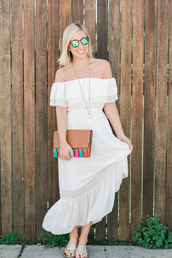 lemon stripes,blogger,round sunglasses,white dress,long dress,summer dress,necklace,mini bag,leather bag,summer outfits