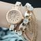 [grxjy51500023]bohemian style rhinestone link chain bracelet watch