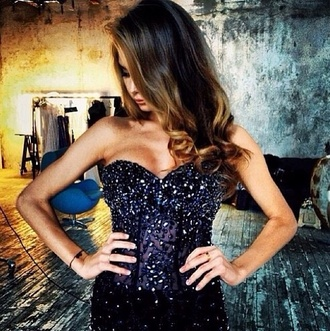 dress sequins sequin dress glitter rhinestones pearl transparent sheer bodycon bandeau black prom prom dress lace