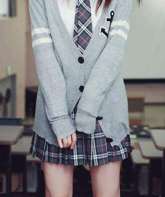 cardigan anchor preppy back to school skirt