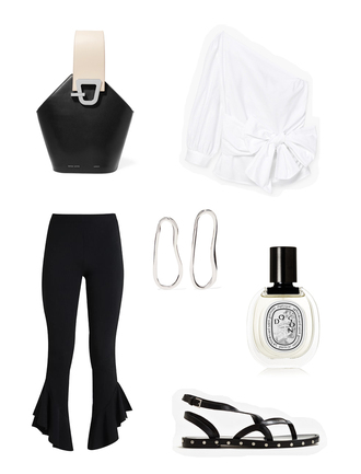 viennawedekind blogger bag top jewels shoes pants white blouse black pants flats spring outfits black and white