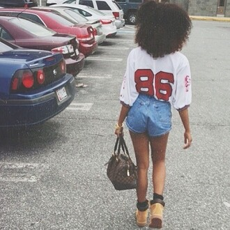 jeans babe 86 baddies louis vuitton curly hair timberlands jersey red and white shorts blouse