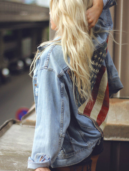 girl jacket denim jacket american flag blonde hair