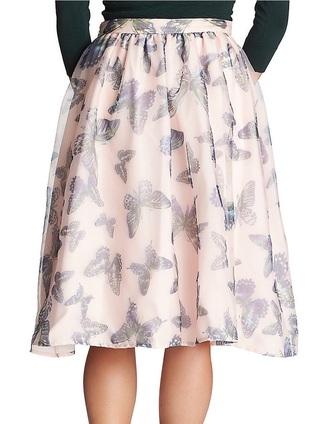 skirt butterfly pink skirt midi skirt