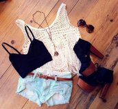 shirt,clothes,summer,hippie,crop tops,shoes,shorts,tank top,jeans,gemstone pendant,cute,blouse,got to have outfit,t-shirt,white,glasses,necklace,white shirt,black,bandeau,sunglasses,high heels,wedges,brown,style,look,dress,pants,white crop tops,cut off shorts,high waisted denim shorts,black crop top,tube top,light blue,braun,denim shorts,underwear,white beach cream,top,lace,bralette,lace top,crochet,the black and white tee-shirt,jumpsuit