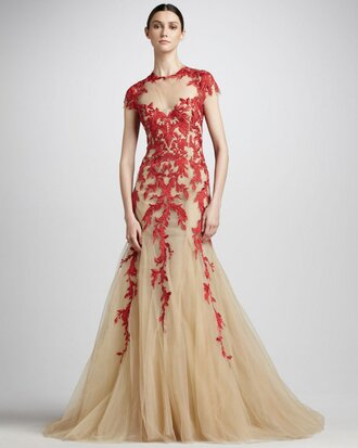 dress champagne dress red lace dress cap sleeves dress mermaid prom dress