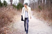 happily grey,jacket,sweater,jeans,hat,bag,shoes,coat