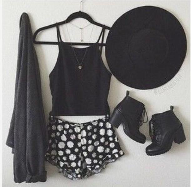 shorts black and white shorts flowered shorts