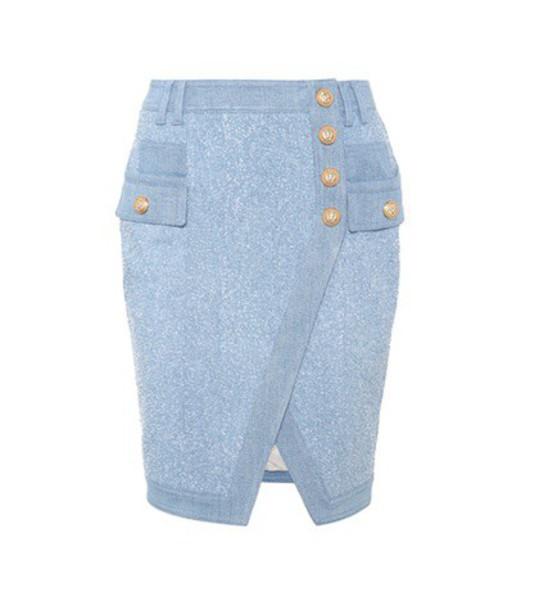 Balmain skirt denim skirt denim blue