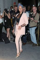 pants,top,blazer,suit,NY Fashion Week 2016,alicia keys,pumps,see through top,see through,mesh top,tuxedo,two-piece,celebrity,celebrity style,celebstyle for less,red carpet,party outfits,sexy,sexy outfit,summer outfits,spring outfits,fall outfits,winter outfits,classy,elegant,cute,girly,date outfit,wedding clothes,wedding guest