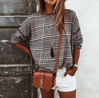 shirt bag shorts jewels tassel sweater blogger ysl ysl bag white shorts crossbody bag necklace jewelry boho boho jewelry blouse hipster cute white long sleeves pattern black and white