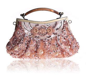 bag handbag wedding bridesmaid beaded metallic clutch party spring accessory