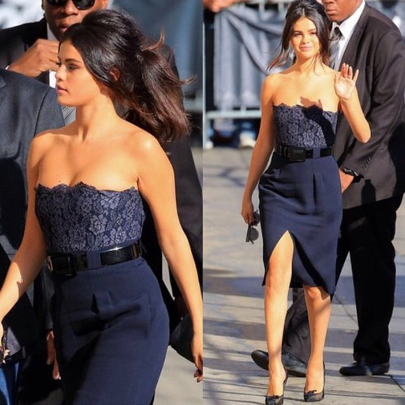 selena gomez navy Belt flowers dress lace dress prom dress dark blue