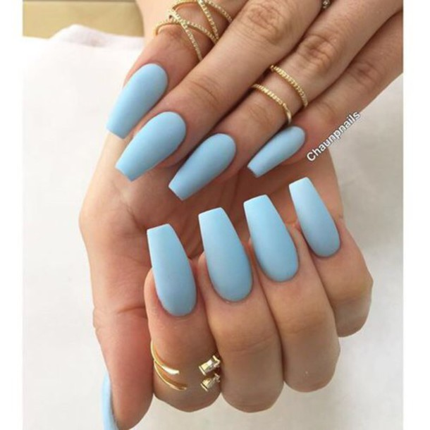 Nail Polish, Pastel, Pastel Nail Polish, Light Blue, Jewels, Jewelry,  Knuckle Ring, Ring, Gold Ring, Gold, Gold Jewelry   Wheretoget