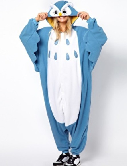 owl dress onsie blue