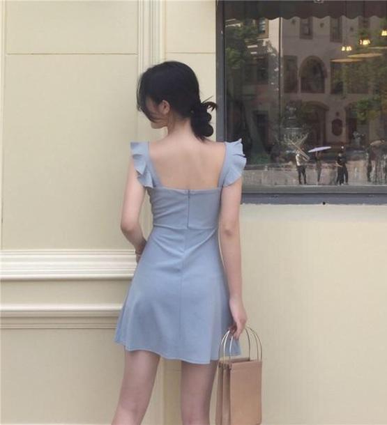 dress girly blue blue dress mini dress mini cute