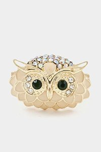 Amazon.com: karmas canvas owl head with epoxy and crystal accent stretch ring (ivory): jewelry