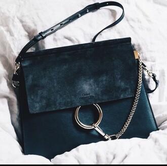 bag chloe bag black bag shoulder bag chloé black leather chloe faye bag