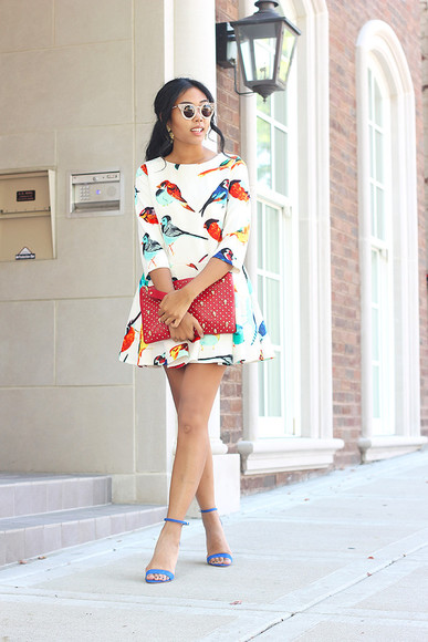 shoes girly blue shoes summer shoes high heels classy fashion of a novice bag sunglasses jewels birds bird dress sandals blogger summer outfits summer dress hipster animal print white dress pouch red bag red pouch dots bird print clutch red clutch earrings cat eye indie boho short dress
