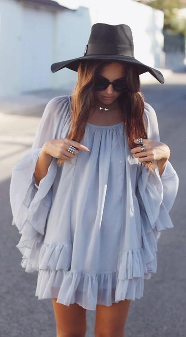 dress boho pinterest tumblr ruffle long sleeves