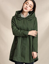 hooded trench coat,casual jacket,casual coat,fall jacket,corset coat,forest green
