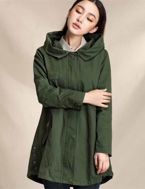 Coat: hooded trench coat, casual jacket, casual coat, fall jacket ...
