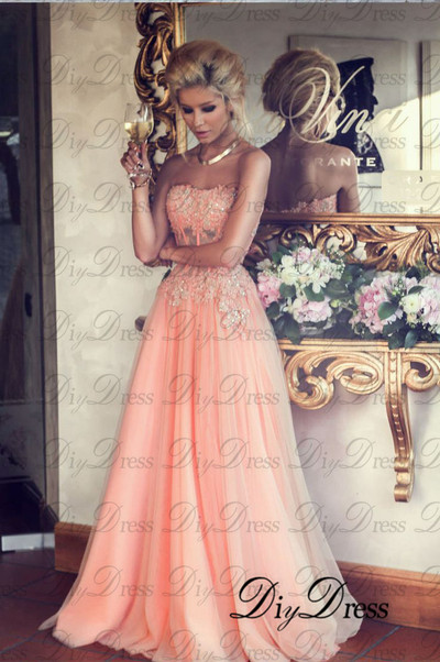 Line strapless lace appliqued bodice blush tulle skirt long prom dresses for 2015 party apd1279 · diydressonline · online store powered by storenvy