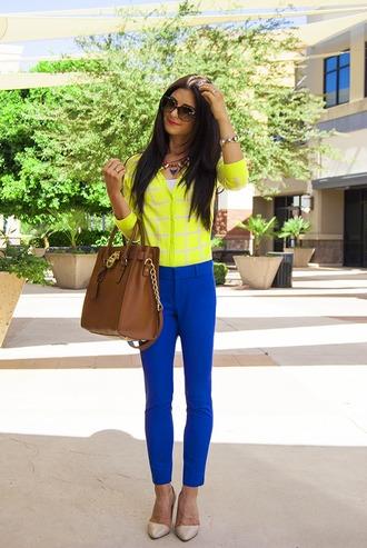 pants blue pants top yellow top long sleeves bag brown bag michael kors bag michael kors pointed toe pumps pumps sunglasses statement necklace necklace