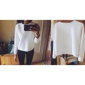 blouse sweater pull and bear style white style white blouse