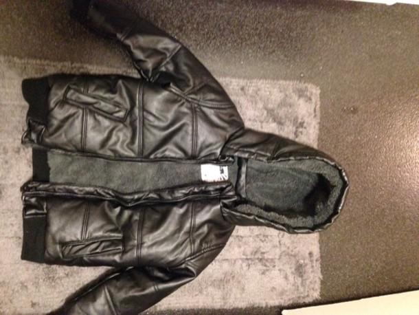 coat boys jacket black imitation leather puffer er