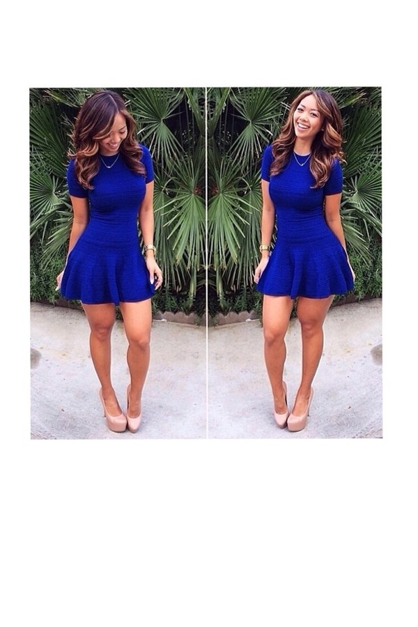 Sleeveless Fit \u0026 Flare Dress , Royal Blue