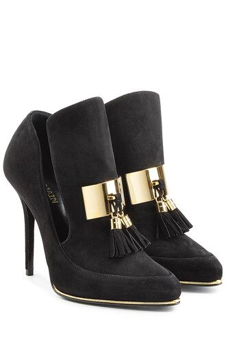 pumps suede black shoes