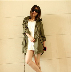 Online shop womens hoodie drawstring army green military trench parka jacket coat jumper q3