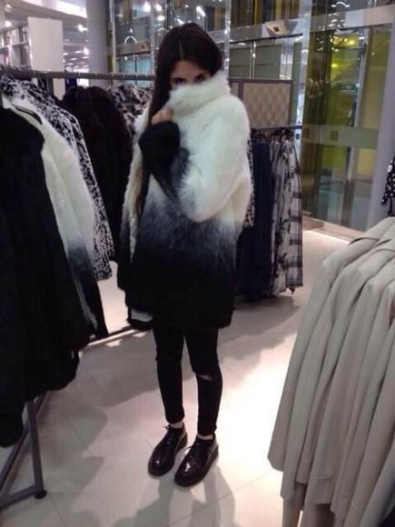tie dye black and white fur coat faux fur jacket faux fur coat faux fur