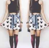 tank top,skater skirt,waist jacket,top,skirt,socks,shirt,knee high socks,blackcroptop,sweater,light blue,shoes,crop tops,denim shirt,cats,underwear,cute,tumblr,summer,black,tight,cropped,jacket,cat skirt,black and white,high waisted skirt,red socks,cute skirt and crop top
