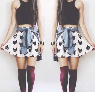 tank top skater skirt waist jacket top skirt socks cats monochrome cats whiteblack