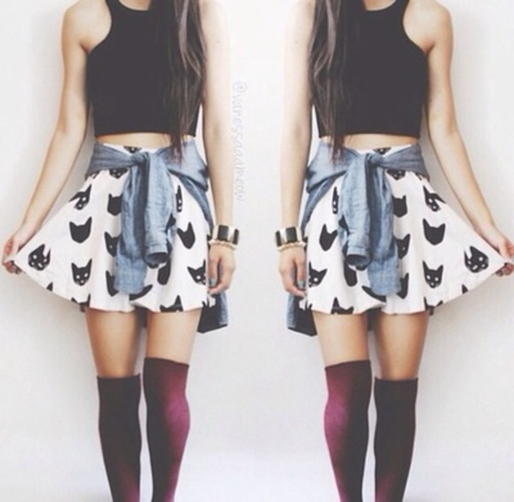 tops tank top skater skirt waist jacket skirt